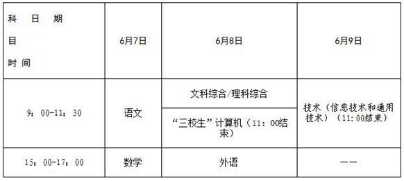 2018年江西高考时间及科目安排