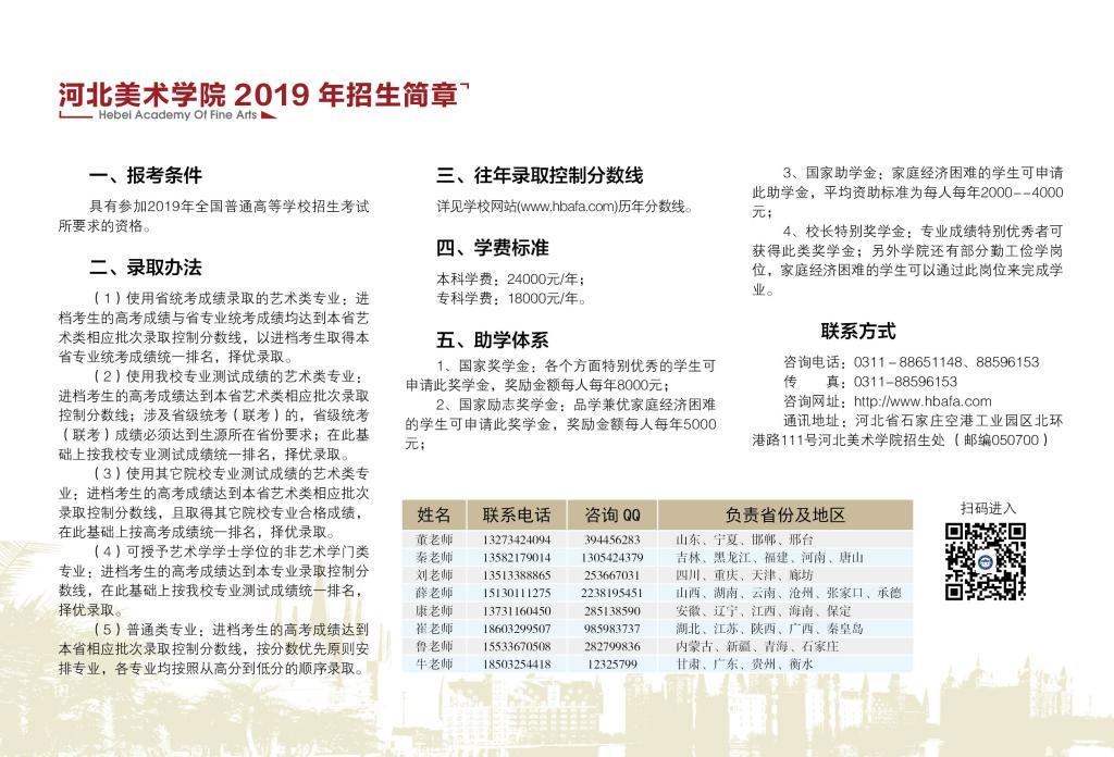 2019年河北美术学院艺术类招生计划