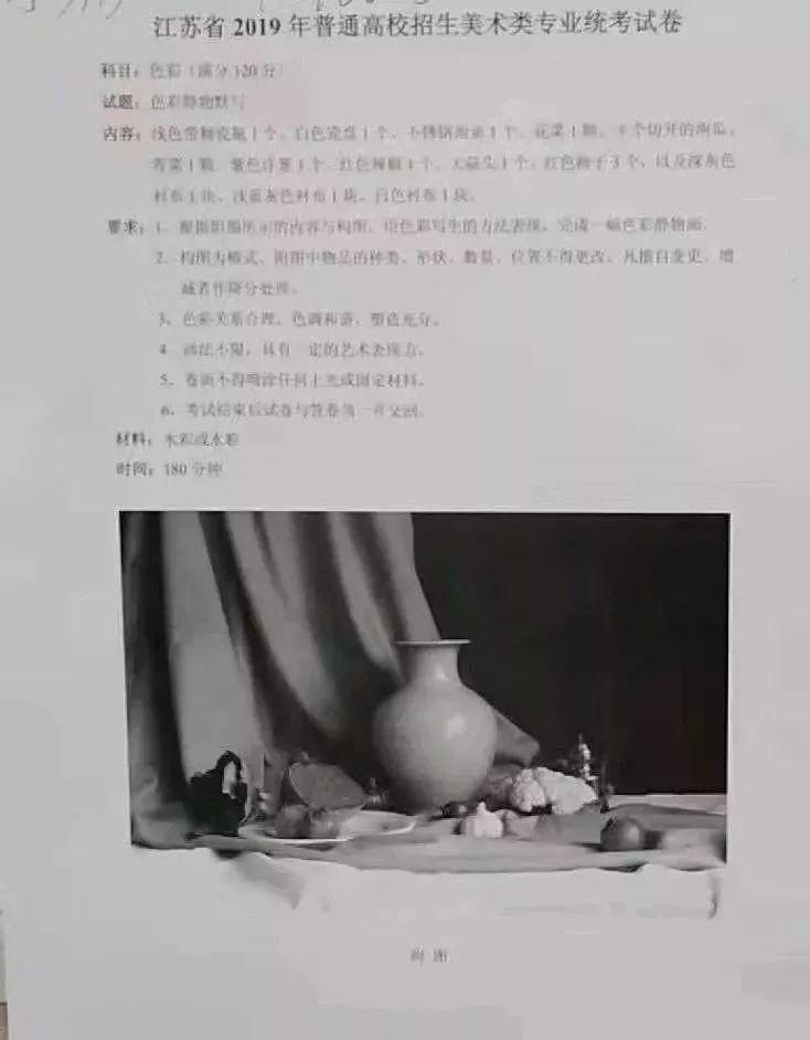 2019年江苏美术与设计类色彩考题