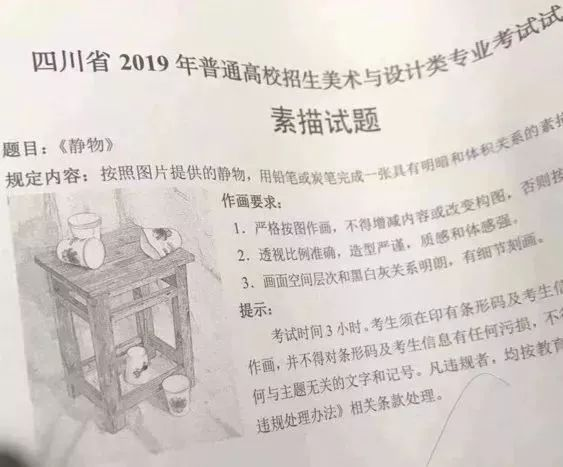 2019年四川省素描考题